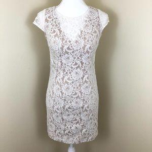 ADRIANNA PAPELL White Lace Mini Dress